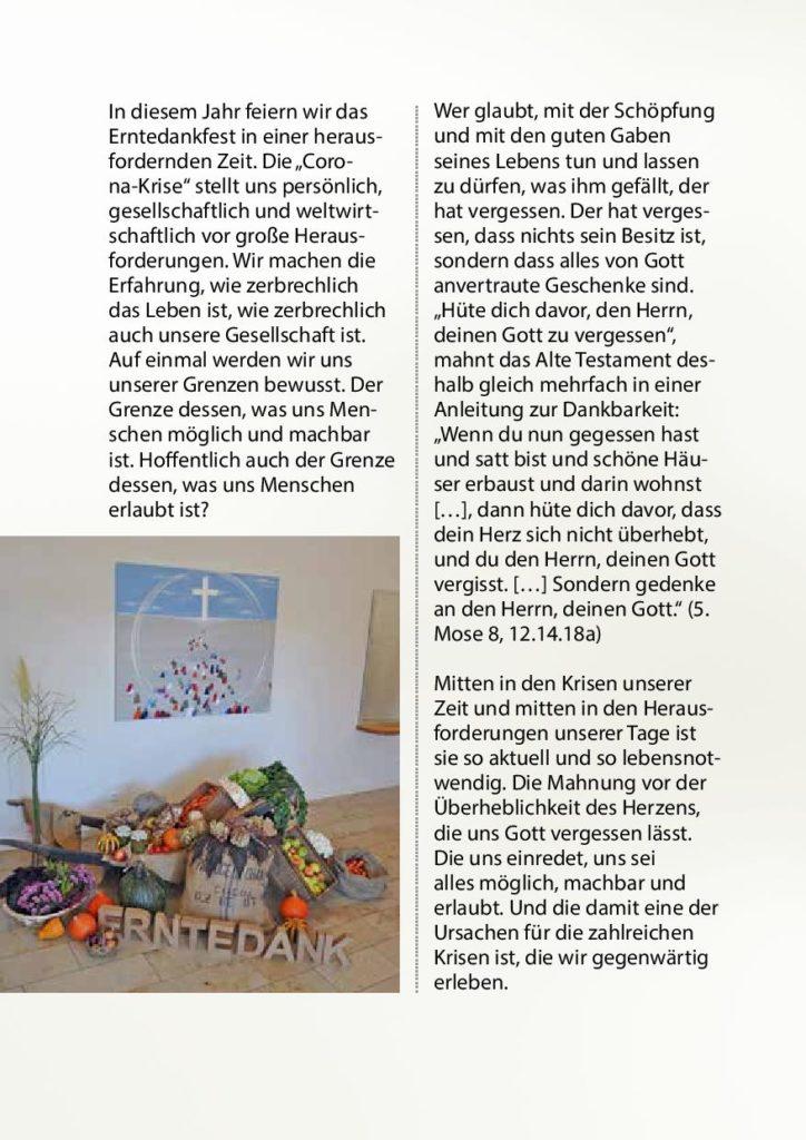 Erntedankbrief 2020 vom Hannoverschen Verband Landeskirchlicher Gemeinschaften - Seite 2