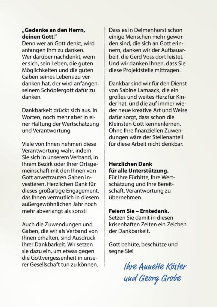 Erntedankbrief 2020 vom Hannoverschen Verband Landeskirchlicher Gemeinschaften - Seite 3